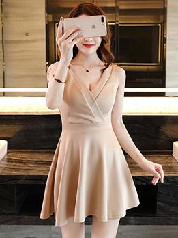 Elegant V-Neck Backless Ruffles Sleeveless Dresses