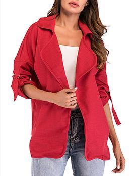 Autumn Lapel Collar Double Pocket Solid Coat