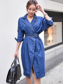 Korean Lapel Denim High Waist Solid Dresses