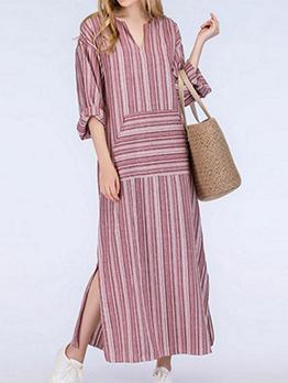 Plus Size Striped V Neck Maxi Dresses