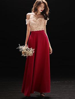 Off Shoulder Patchwork Sequined Evening Dresses