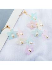 Matching Flower Faux Pearl Long Earrings
