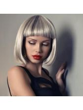 Fashionable Short Neat Bang Straight Glossy Bob Synthetic Hair