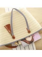 Fashion Solid Fringe Pendant Straw Bags