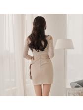 V Neck Off Shoulder Ruffles Lace Dress
