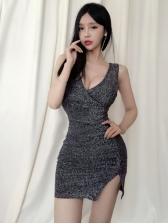 Night Club Low-cut Pleated Slit Bodycon Dresses