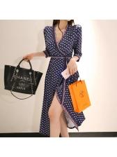 Korean V Neck Floral Split Hem Wrap Dress