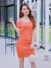 Hot Sale Off Shoulder Solid Knitting Dress
