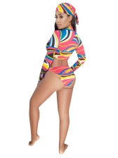 Summer Holiday Style Colourful Printing Swimsuit