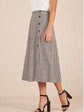 Chic Plaid Patchwork Lady Skirt