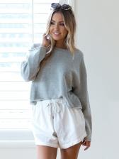 Fashion Solid Loose Casual Sweatshirt