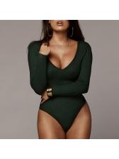Sexy Long Sleeve V Neck Solid Bodysuit