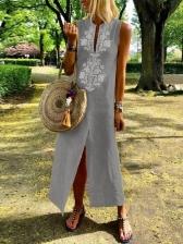 Euro Hot Sale Printed Split Hem Midi Dress