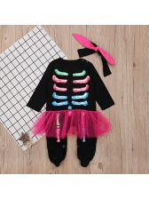 New Arrival Patchwork Bone Printed Baby Girl Jumpsuit