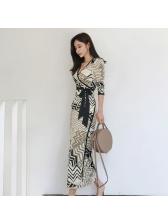 Elegant V Neck Printing Tie-wrap Maxi Dresses