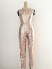 Sexy Backless Sequined Fitted Jumpsuit