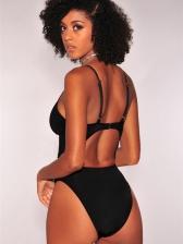 Euro Hot Sale Low-Cut Tie-Wrap Solid Bikini Sets
