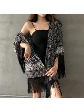 Ethnic Printed Tassels Loose Women Coat