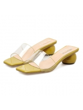 Fashion Square Toe Clear Women Slippers