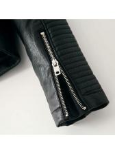 Classic PU Stand Collar Women Short Coats