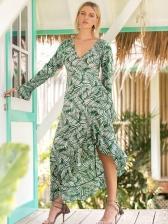 Floral V-Neck Asymmetrical Green Long Sleeve Slit Dress