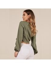 Fashion Binding Bow V Neck Blouses