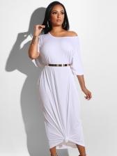 Fashion Inclined Shoulder Solid Loose Dress