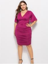 Fashion Flare Sleeve V-Neck Plus Size Dress