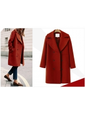 European Style Lapel Double Breasted Solid Coat
