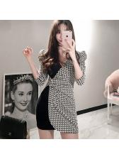 Sexy Patchwork V-Neck Mini Dress