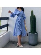 Retro V-Neck Tie-Wrap Solid Maxi Dress For Women
