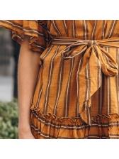 Vintage Striped Tie-Wrap Short Sleeve Dresses