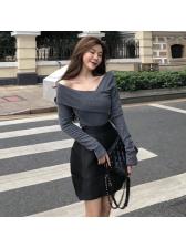 Fashion Inclined Shoulder High Waist 2 Piece Sets