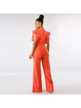 Fashion Solid Ruffles Binding Bow Jumpsuits