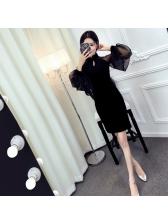 Elegant Split Lantern Sleeve Women Dress