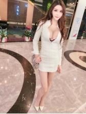 Korean Style Zipper Up White Mini Dress