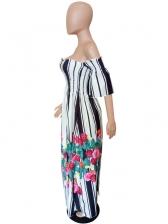 Hot Sale Striped Printed Off Shoulder Dress