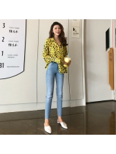 Fashion Solid Leopard Print Top For Women