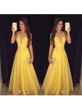 Euro Plunging V-neck Yellow Halter Dress