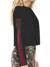 Euro Hot Sale Striped Patchwork Short T-shirt