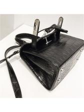 Round Handle Crocodile Grain Hasp Shoulder Bags