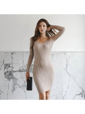 Autumn V-Neck Fitted Knitted Dresses