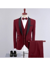 3 Pieces Hot Sale Fitted Wine Red Men Suit