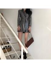 Fashion Sequined Lapel Bling Long Coat