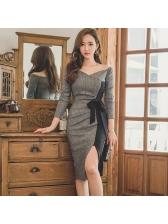 New Arrival Off Shoulder Patchwork Split Female Dress