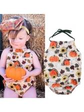 Cute Pumpkin Design Flower Tie-wrap Rompers