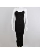 Sexy V Neck Single-breasted Solid Sleeveless Dress
