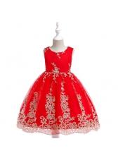 Euro Embroidery Crew Neck Princess Dresses