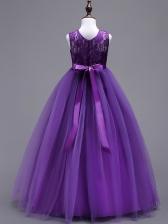 Temperament Lace Patchwork Crew Neck Long Princess Dresses