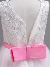 Fashion Lace Patchwork Gauze Sleeveless Fluffy Dresses